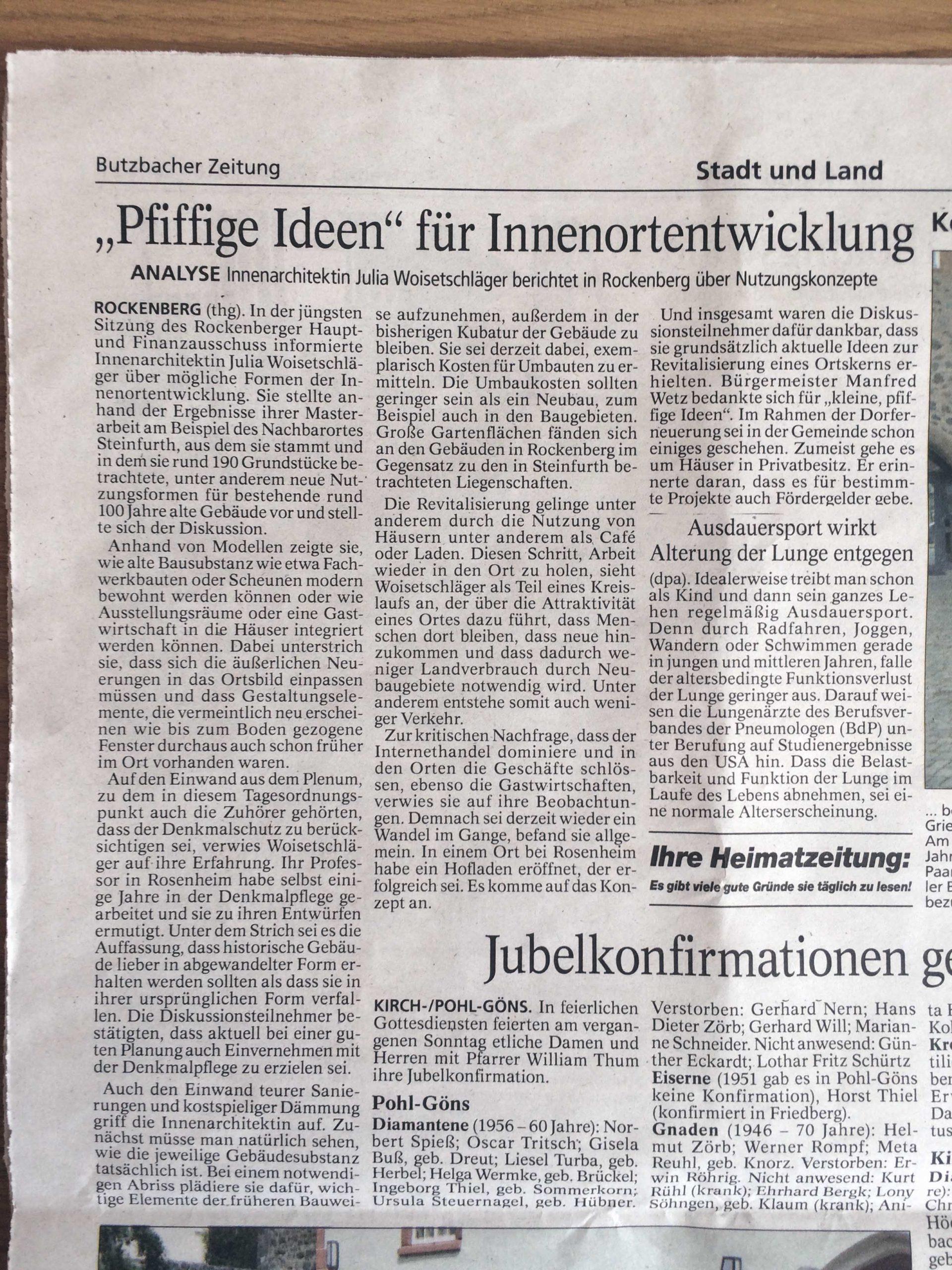 """""""Pfiffige Ideen"""" für Innenortentwicklung"""